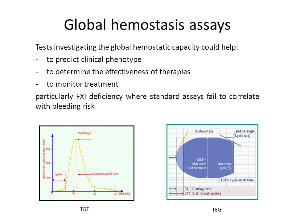Global hemostasis assays Tests investigating the global hemostatic capacity could help: -to predict clinical phenotype -to determine the effectiveness