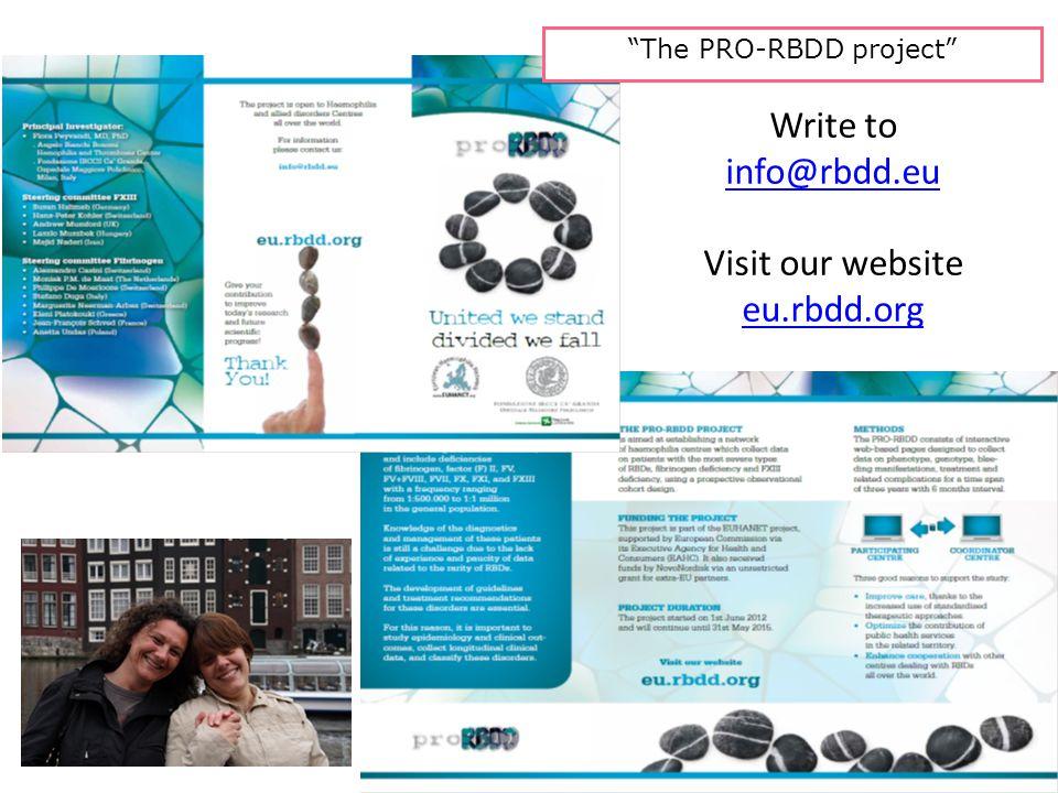 The PRO-RBDD project Write to info@rbdd.eu Visit our website eu.rbdd.org