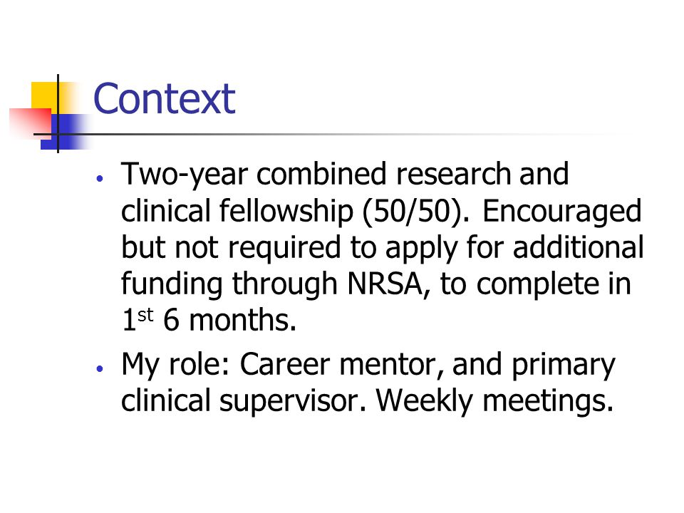 Context Two-year combined research and clinical fellowship (50/50).