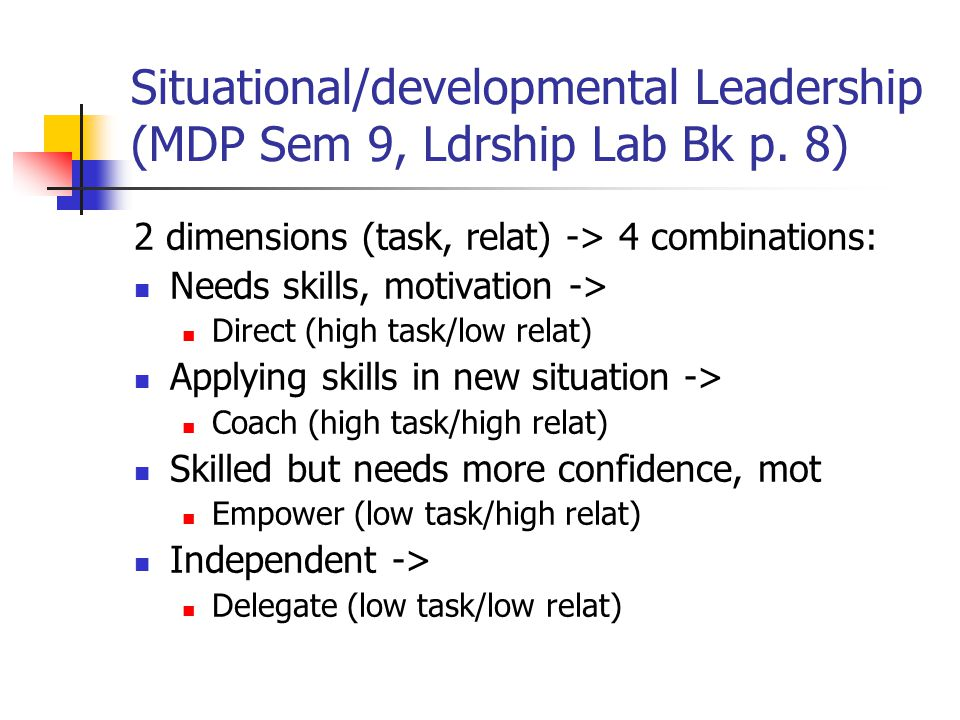 Situational Leadership Strategy Selection (p.