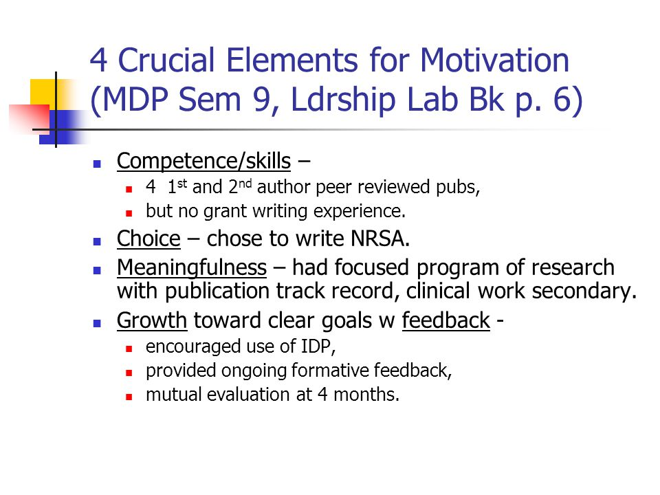 4 Crucial Elements for Motivation (MDP Sem 9, Ldrship Lab Bk p.