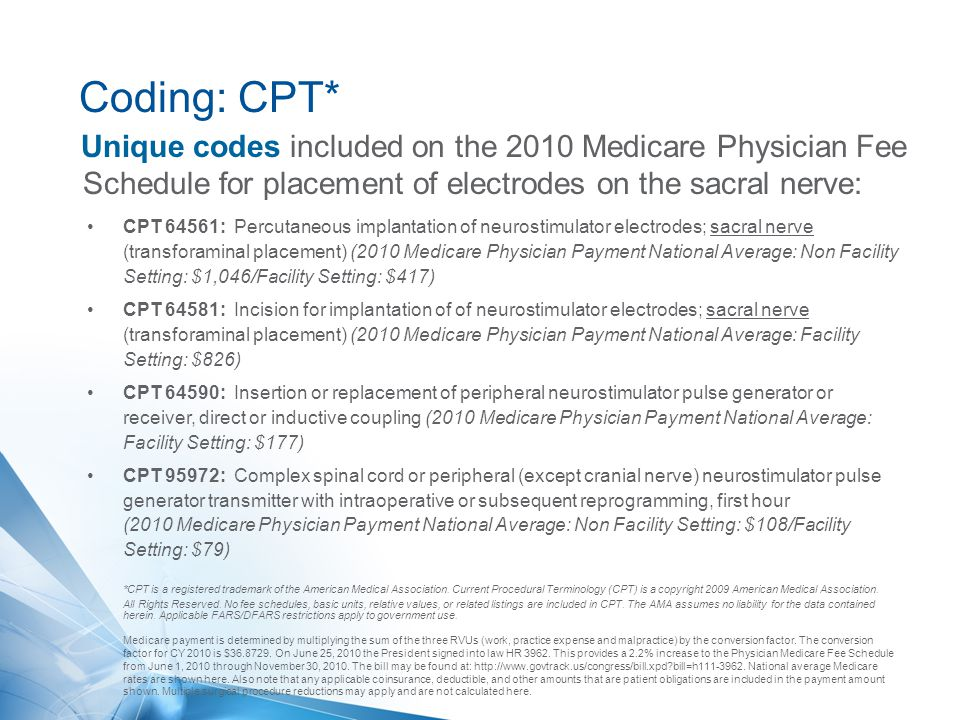 Coding: CPT* Unique codes included on the 2010 Medicare Physician Fee Schedule for placement of electrodes on the sacral nerve: CPT 64561: Percutaneou