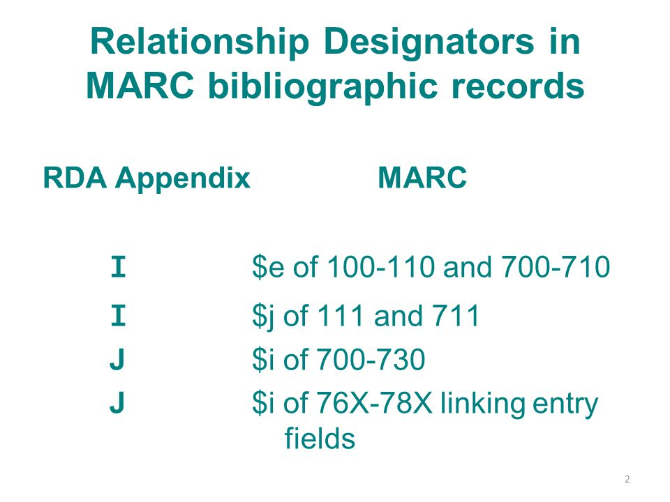 Relationship Designators in MARC bibliographic records RDA AppendixMARC I $e of 100-110 and 700-710 I $j of 111 and 711 J $i of 700-730 J $i of 76X-78X linking entry fields 2