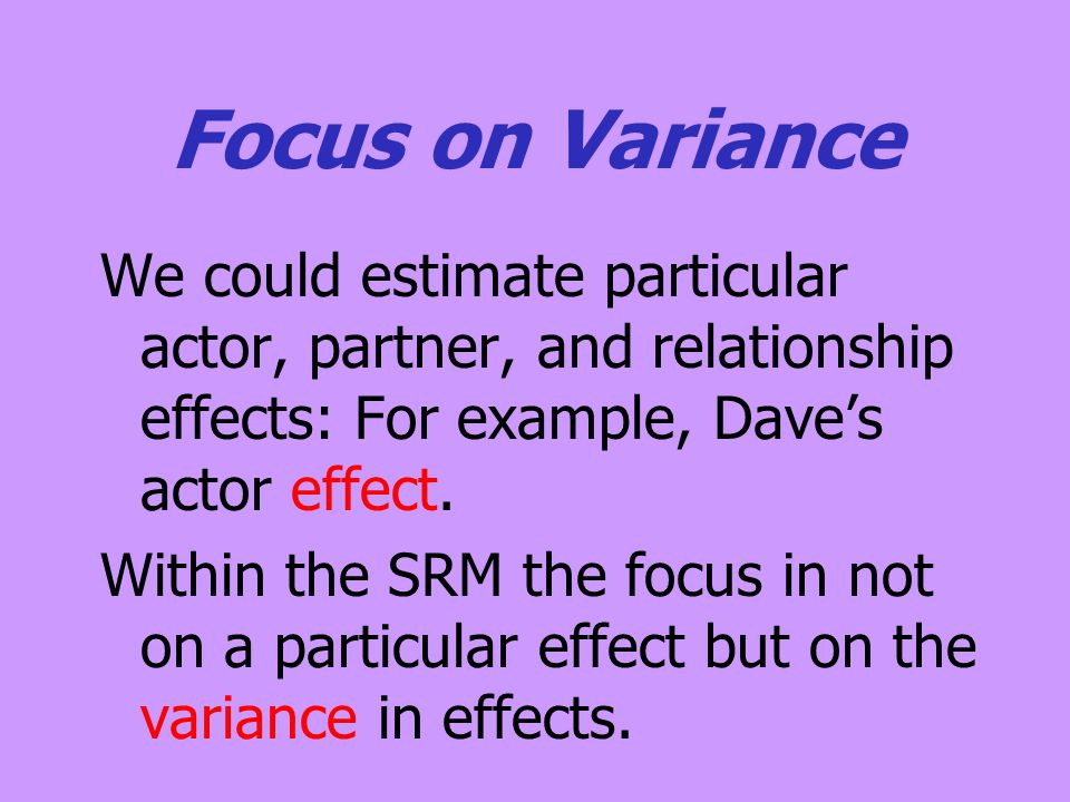 Focus on Variance We could estimate particular actor, partner, and relationship effects: For example, Dave's actor effect. Within the SRM the focus in
