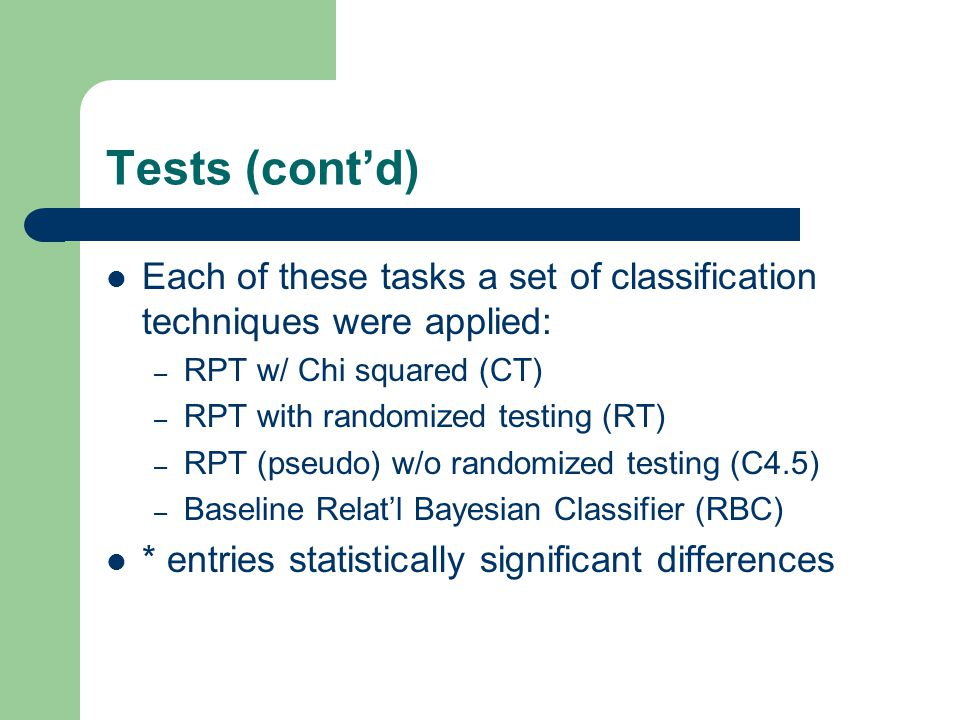 Tests (cont'd) Each of these tasks a set of classification techniques were applied: – RPT w/ Chi squared (CT) – RPT with randomized testing (RT) – RPT (pseudo) w/o randomized testing (C4.5) – Baseline Relat'l Bayesian Classifier (RBC) * entries statistically significant differences