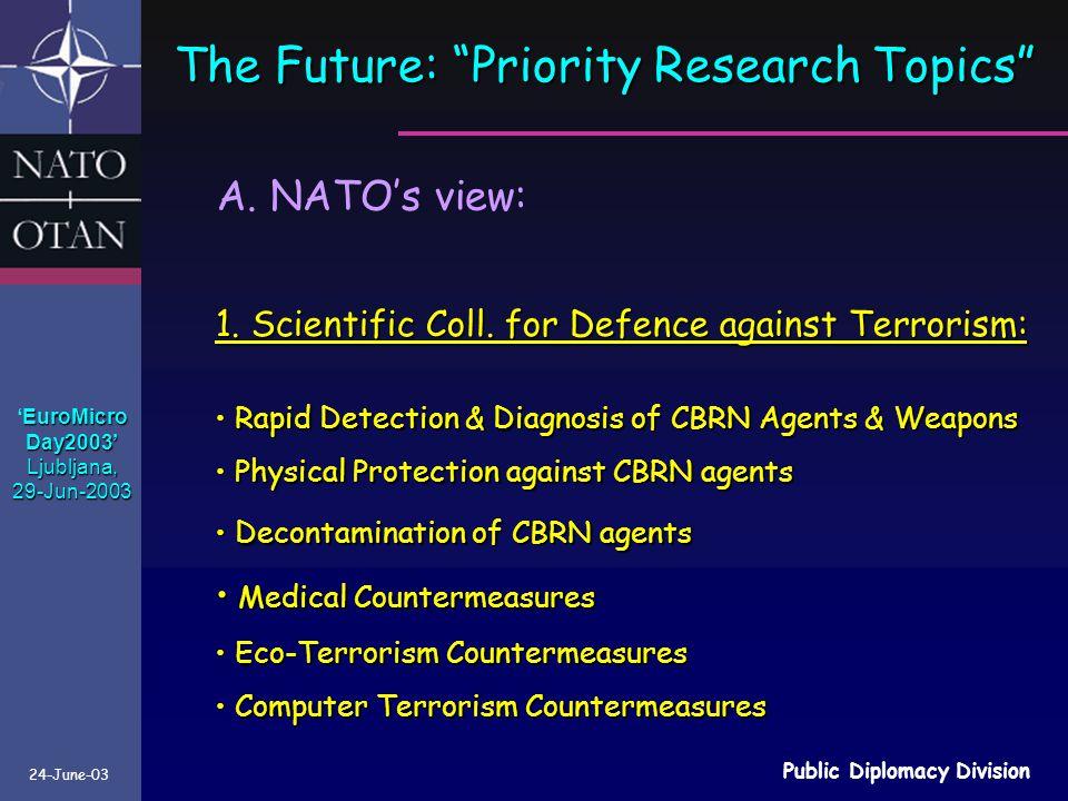 24-June-03 Public Diplomacy Division The Future: Priority Research Topics 1.