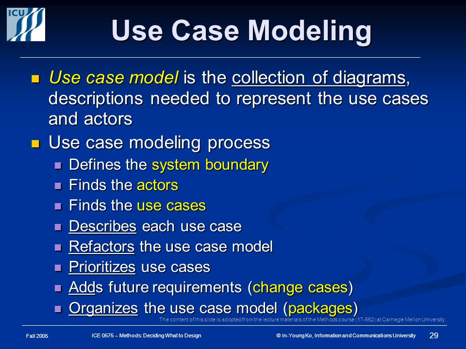 Fall 2005 29 ICE 0575 – Methods: Deciding What to Design © In-Young Ko, Information and Communications University Use Case Modeling Use case model is the collection of diagrams, descriptions needed to represent the use cases and actors Use case model is the collection of diagrams, descriptions needed to represent the use cases and actors Use case modeling process Use case modeling process Defines the system boundary Defines the system boundary Finds the actors Finds the actors Finds the use cases Finds the use cases Describes each use case Describes each use case Refactors the use case model Refactors the use case model Prioritizes use cases Prioritizes use cases Adds future requirements (change cases) Adds future requirements (change cases) Organizes the use case model (packages) Organizes the use case model (packages) The content of this slide is adopted from the lecture materials of the Methods course (17-652) at Carnegie Mellon University.
