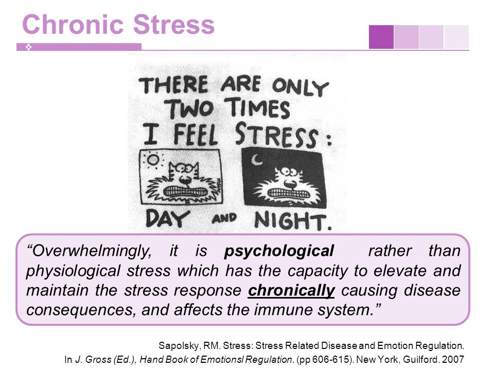 Chronic Stress Sapolsky, RM. Stress: Stress Related Disease and Emotion Regulation.