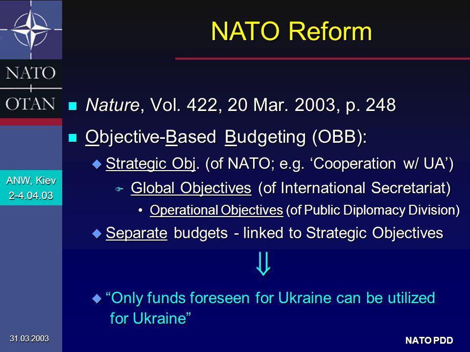 ANW, Kiev 2-4.04.03 31.03.2003 NATO PDD n 'Golden opportunity': u Meeting of NATO Science COMmittee in Kiev F Mtg.
