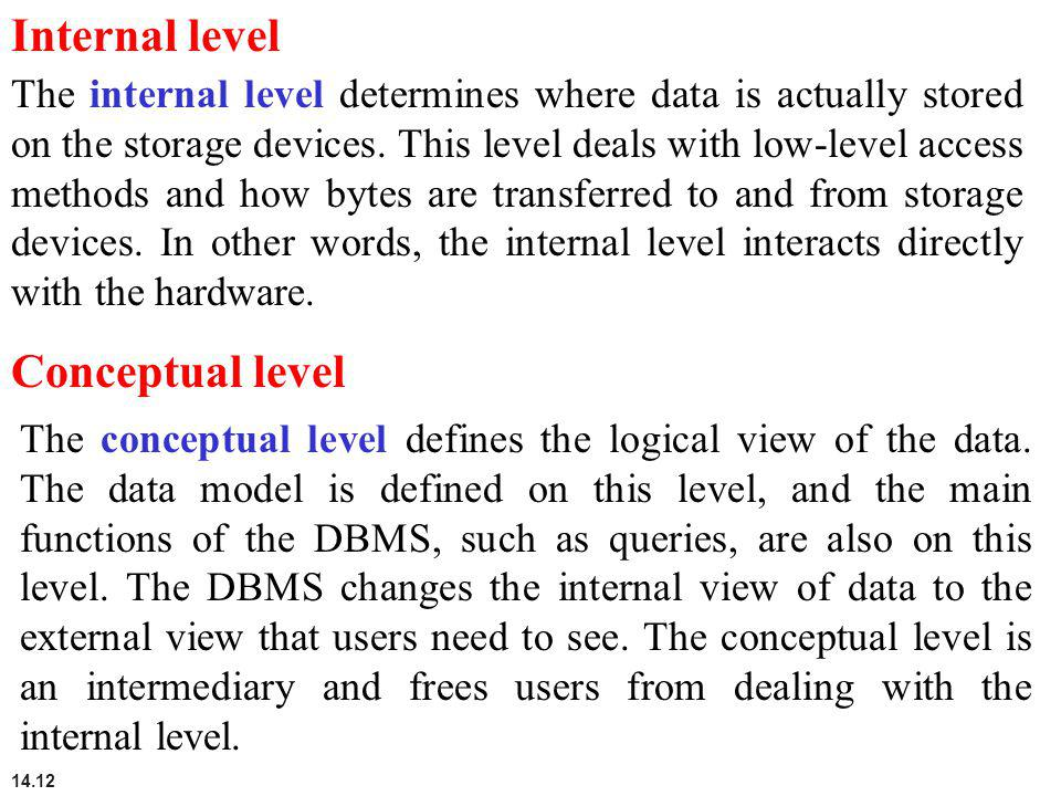 14.12 Internal level The internal level determines where data is actually stored on the storage devices. This level deals with low-level access method