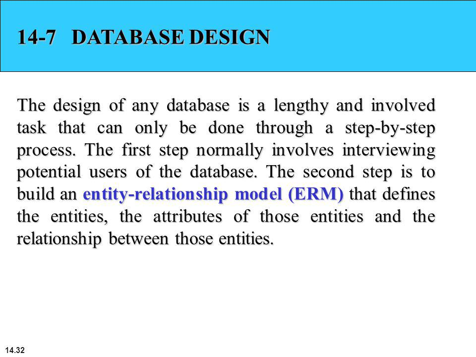 14.32 14-7 DATABASE DESIGN The design of any database is a lengthy and involved task that can only be done through a step-by-step process. The first s