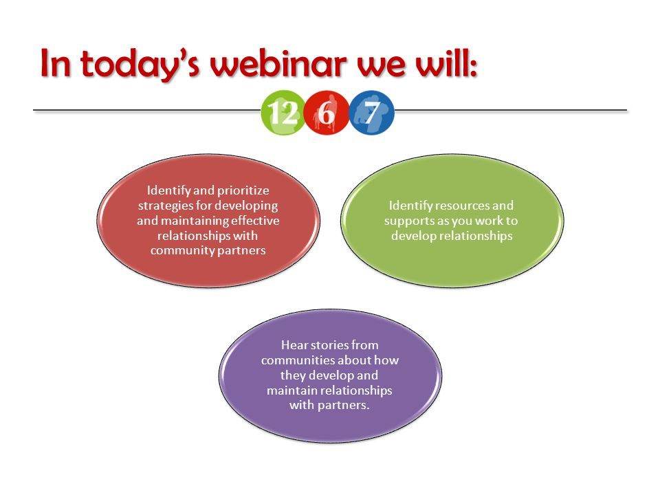In today's webinar we will: Identify and prioritize strategies for developing and maintaining effective relationships with community partners Identify resources and supports as you work to develop relationships Hear stories from communities about how they develop and maintain relationships with partners.