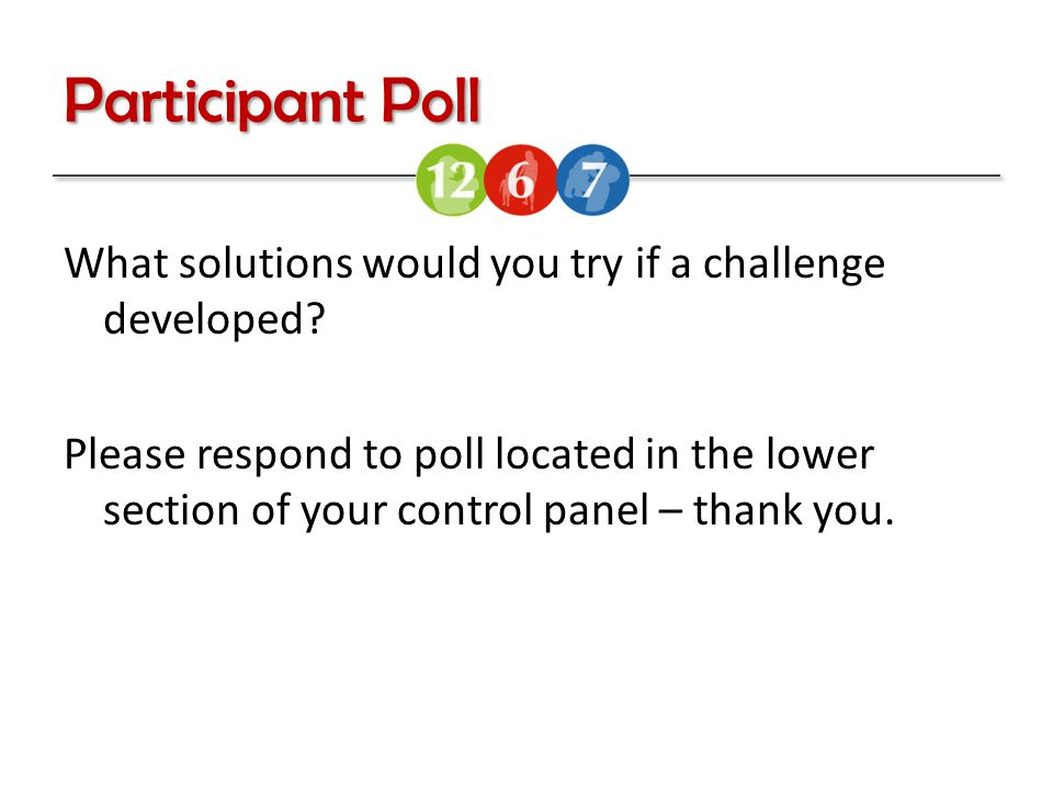 Participant Poll What solutions would you try if a challenge developed.