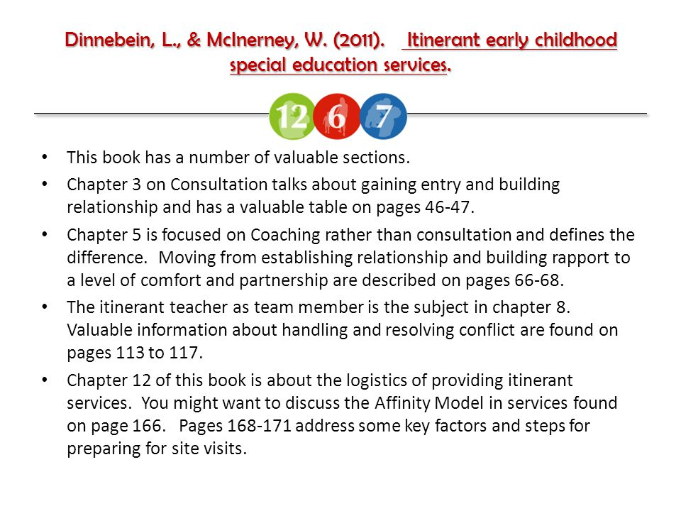 Dinnebein, L., & McInerney, W. (2011). Itinerant early childhood special education services.