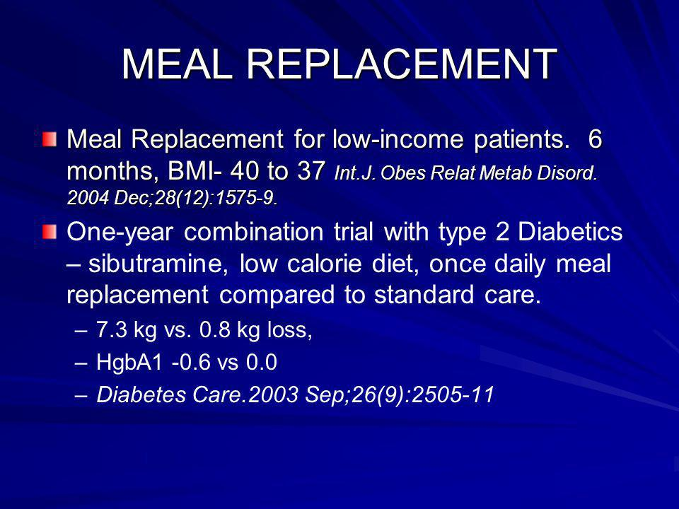 MEAL REPLACEMENT Meal Replacement for low-income patients.