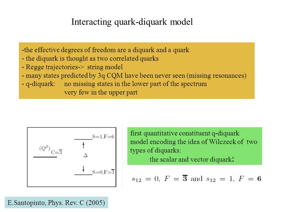 -the effective degrees of freedom are a diquark and a quark - the diquark is thought as two correlated quarks - Regge trajectories-> string model - many states predicted by 3q CQM have been never seen (missing resonances) - q-diquark: no missing states in the lower part of the spectrum very few in the upper part Interacting quark-diquark model first quantitative constituent q-diquark model encoding the idea of Wilczeck of two types of diquarks: the scalar and vector diquark : E.Santopinto, Phys.