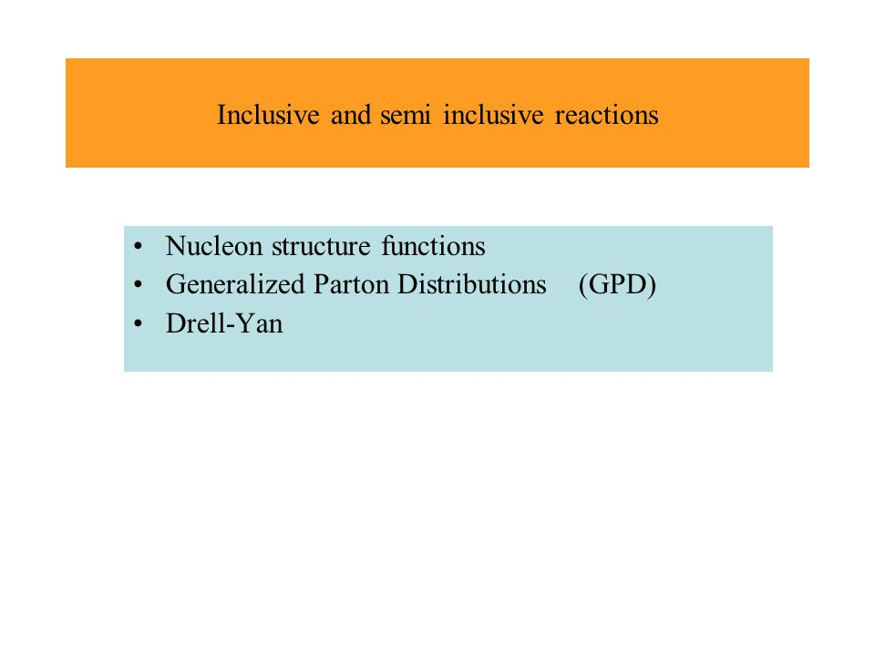 Inclusive and semi inclusive reactions Nucleon structure functions Generalized Parton Distributions (GPD) Drell-Yan