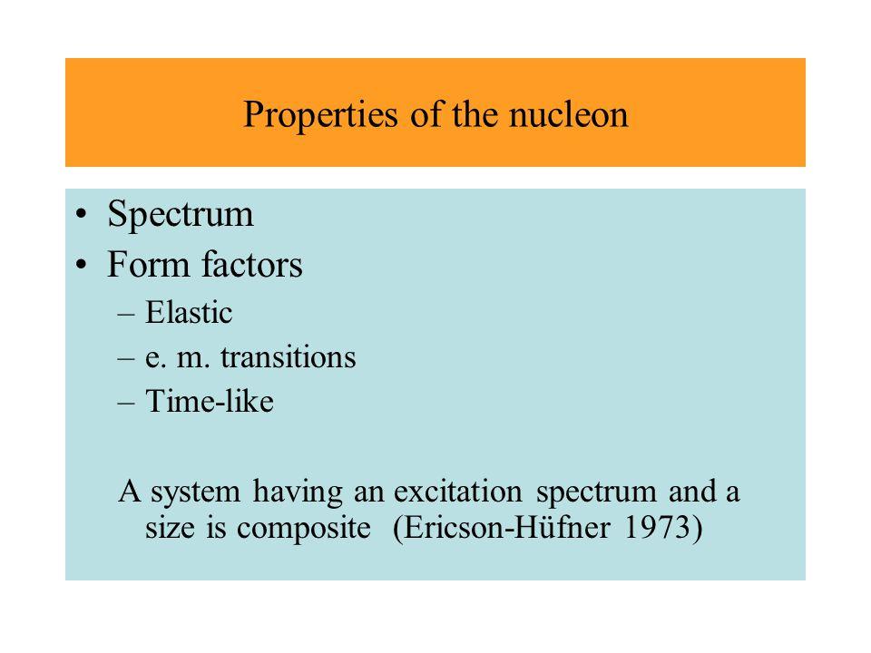 Properties of the nucleon Spectrum Form factors –Elastic –e.