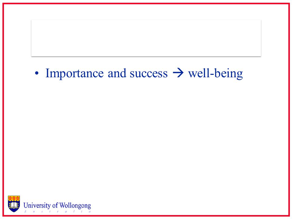 Importance and success  well-being