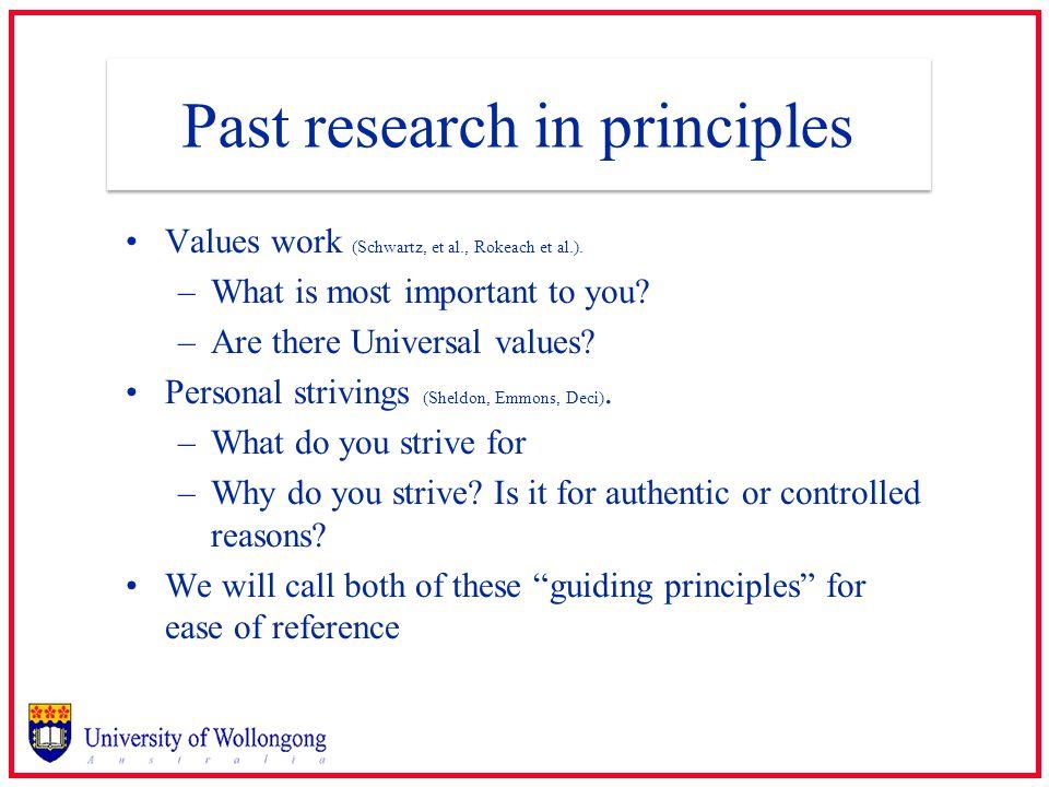 Past research in principles Values work (Schwartz, et al., Rokeach et al.).
