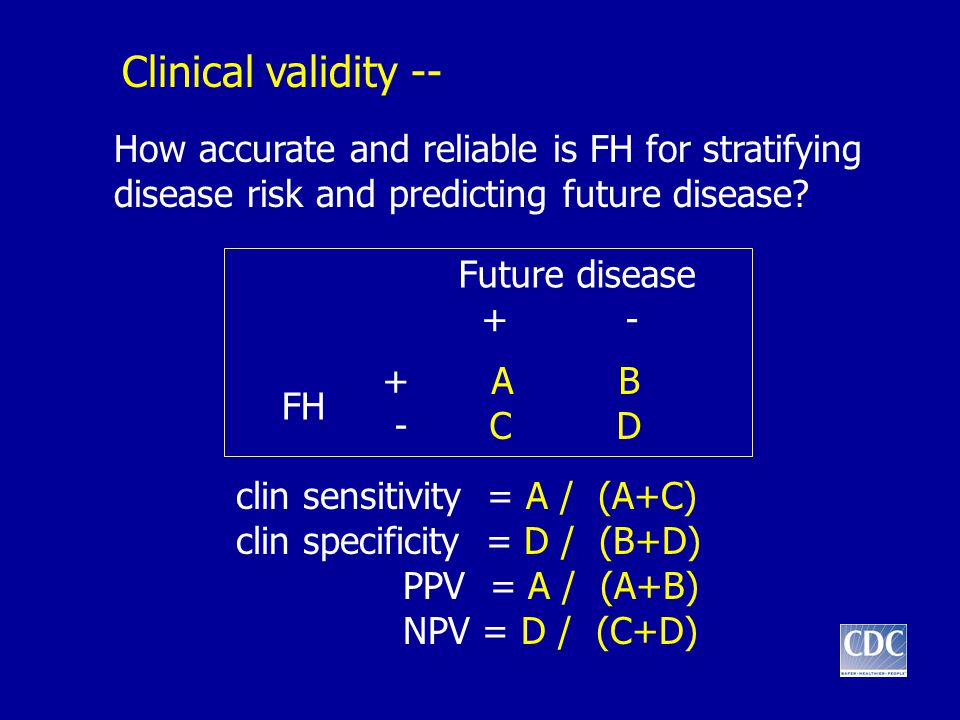 Clinical validity -- How accurate and reliable is FH for stratifying disease risk and predicting future disease.