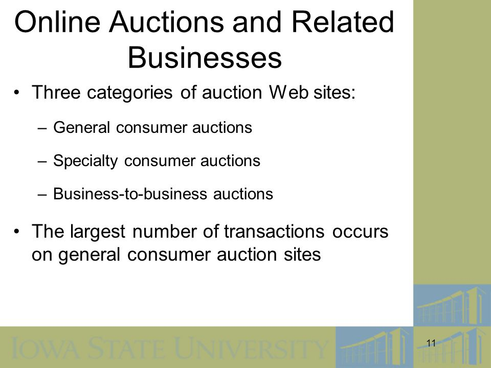 11 Online Auctions and Related Businesses Three categories of auction Web sites: –General consumer auctions –Specialty consumer auctions –Business-to-business auctions The largest number of transactions occurs on general consumer auction sites