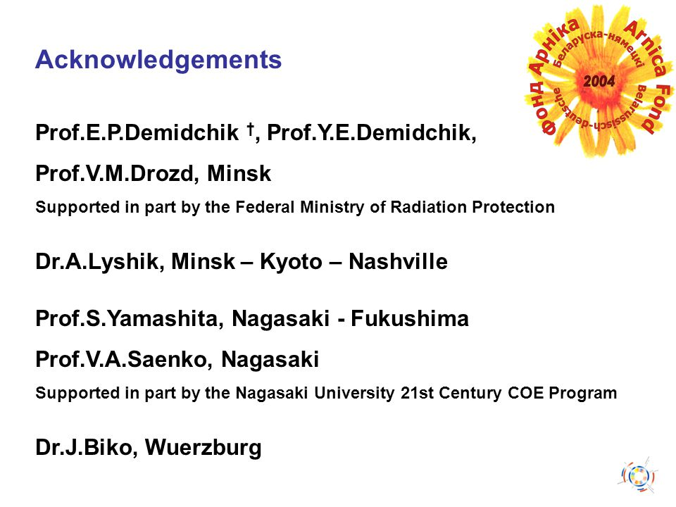 Acknowledgements Prof.E.P.Demidchik †, Prof.Y.E.Demidchik, Prof.V.M.Drozd, Minsk Supported in part by the Federal Ministry of Radiation Protection Dr.
