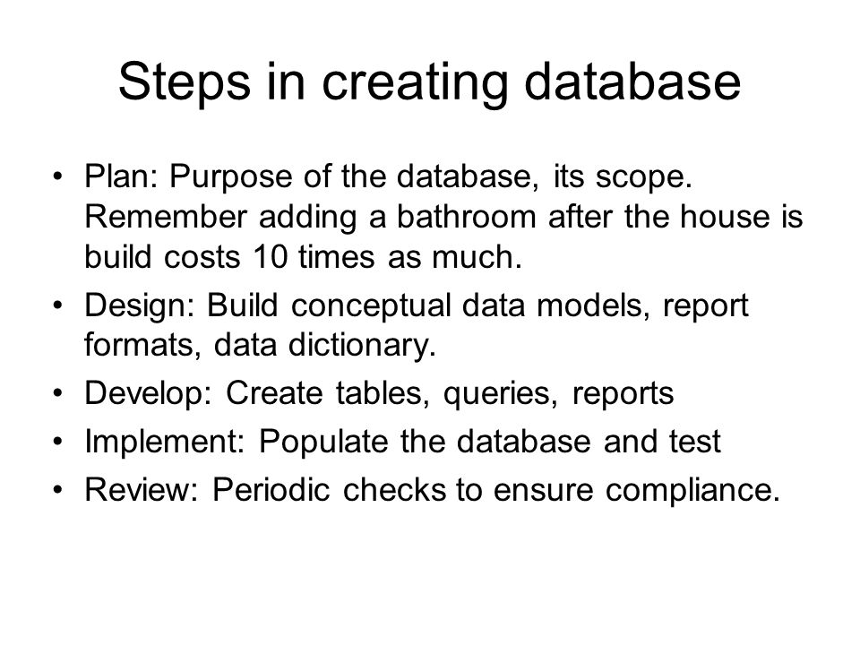 Steps in creating database Plan: Purpose of the database, its scope. Remember adding a bathroom after the house is build costs 10 times as much. Desig