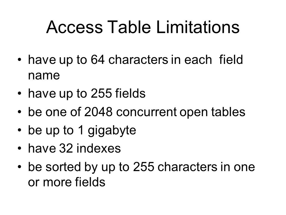 Access Table Limitations have up to 64 characters in each field name have up to 255 fields be one of 2048 concurrent open tables be up to 1 gigabyte h