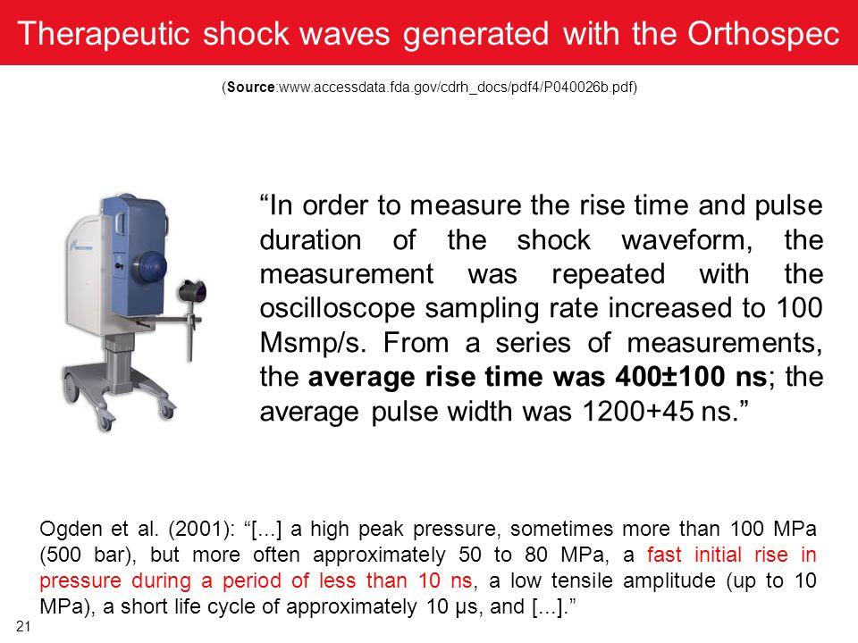 "21 Therapeutic shock waves generated with the Orthospec (Source:www.accessdata.fda.gov/cdrh_docs/pdf4/P040026b.pdf) Ogden et al. (2001): ""[...] a high"