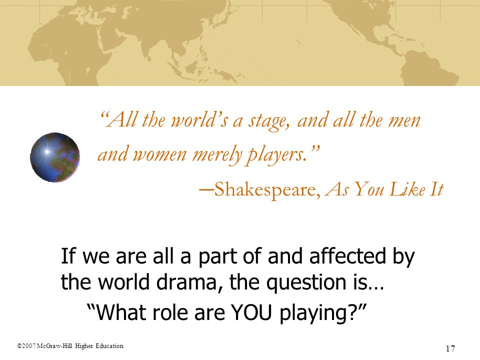 """17 ©2007 McGraw-Hill Higher Education """"All the world's a stage, and all the men and women merely players."""" – Shakespeare, As You Like It If we are all"""