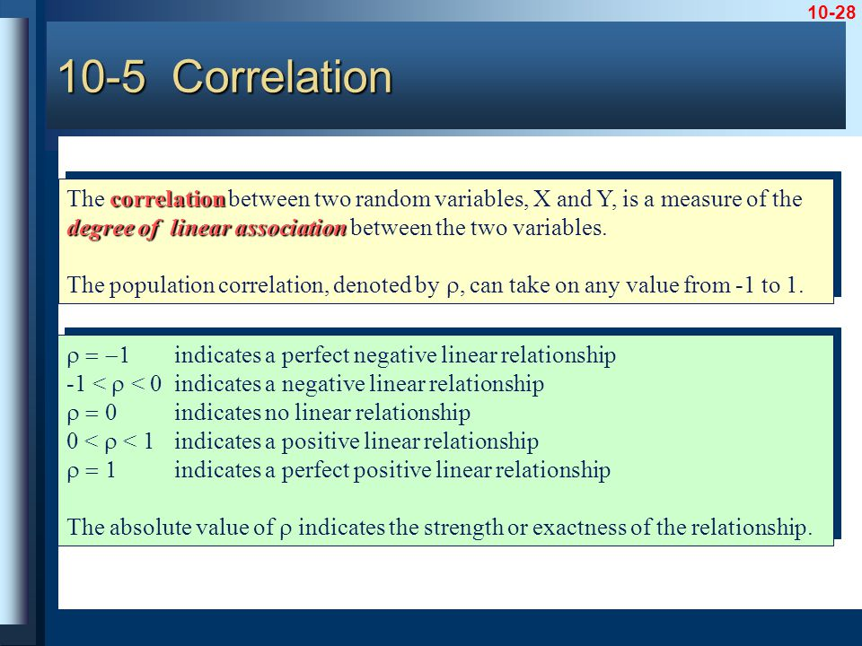 10-28 correlation degree of linear association The correlation between two random variables, X and Y, is a measure of the degree of linear association between the two variables.
