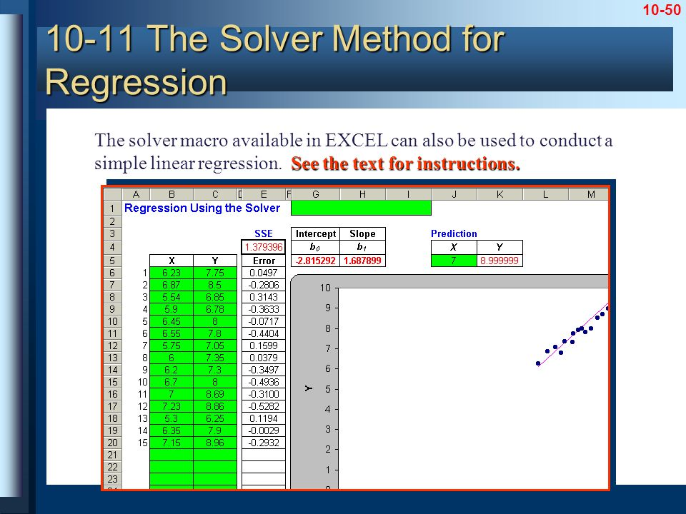 10-50 10-11 The Solver Method for Regression See the text for instructions. The solver macro available in EXCEL can also be used to conduct a simple l