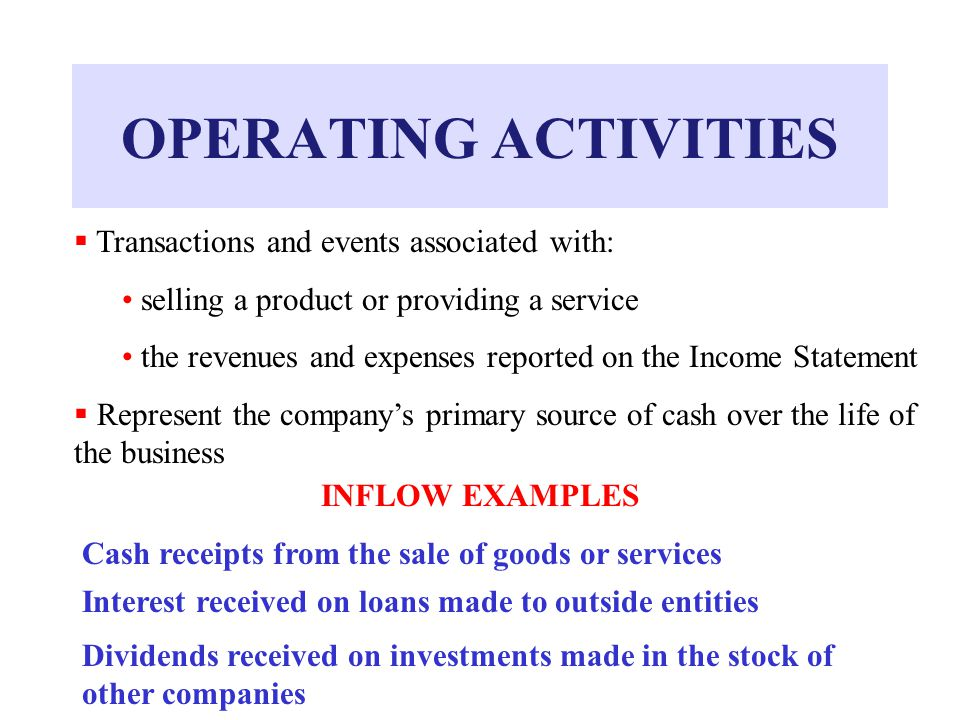 OPERATING ACTIVITIES  Transactions and events associated with: selling a product or providing a service the revenues and expenses reported on the Income Statement  Represent the company's primary source of cash over the life of the business INFLOW EXAMPLES Cash receipts from the sale of goods or services Interest received on loans made to outside entities Dividends received on investments made in the stock of other companies