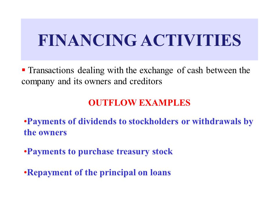 FINANCING ACTIVITIES  Transactions dealing with the exchange of cash between the company and its owners and creditors OUTFLOW EXAMPLES Payments of dividends to stockholders or withdrawals by the owners Payments to purchase treasury stock Repayment of the principal on loans
