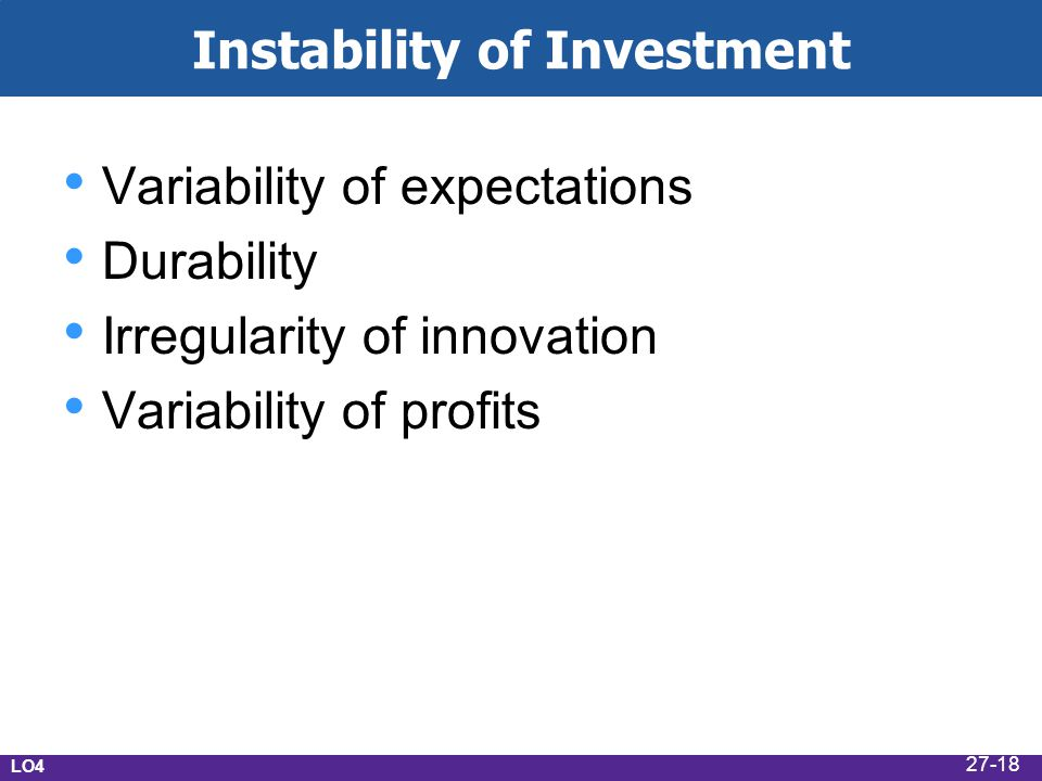 Instability of Investment Variability of expectations Durability Irregularity of innovation Variability of profits LO4 27-18