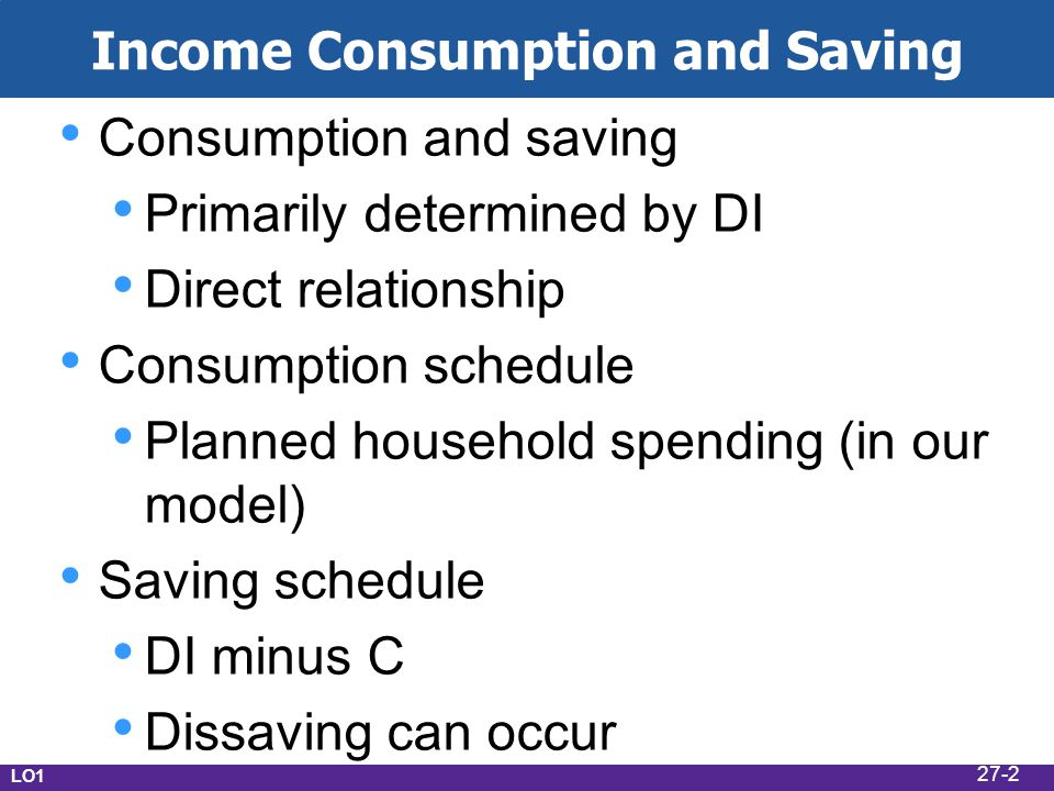 Income Consumption and Saving Consumption and saving Primarily determined by DI Direct relationship Consumption schedule Planned household spending (i