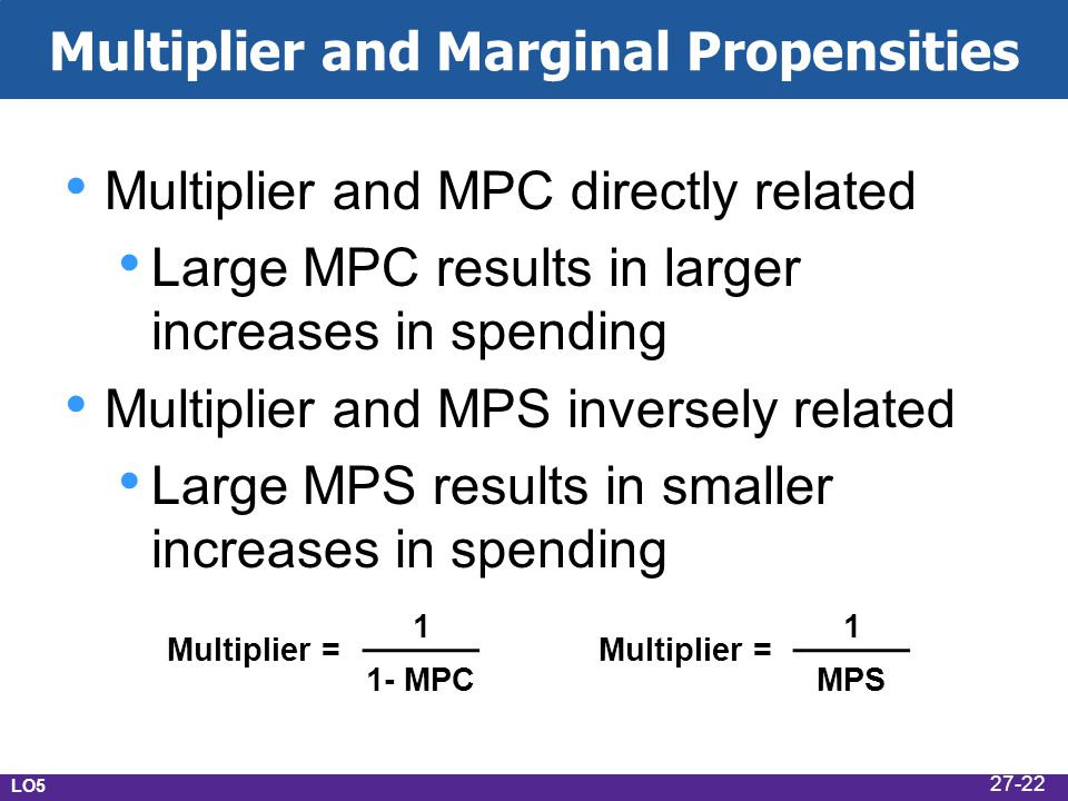 Multiplier and Marginal Propensities Multiplier and MPC directly related Large MPC results in larger increases in spending Multiplier and MPS inversel