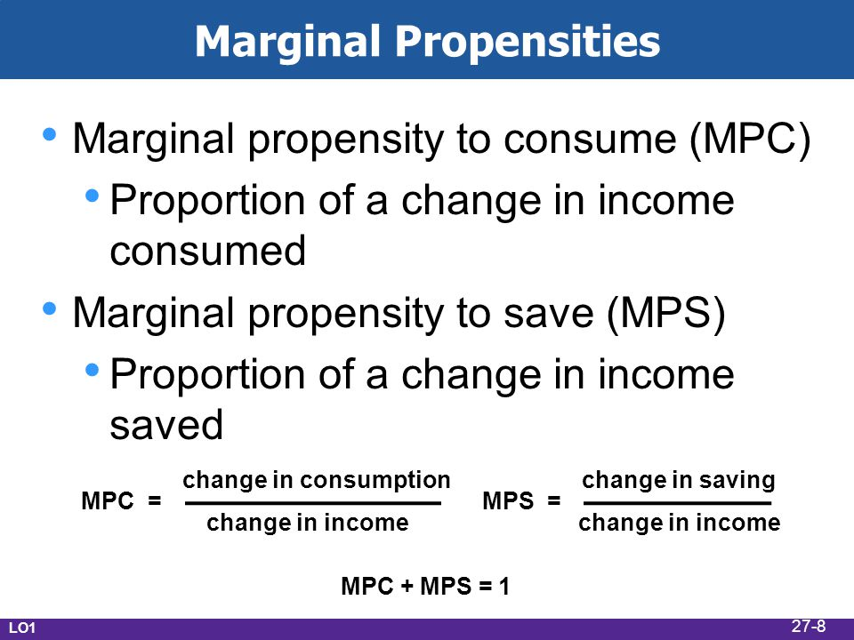 Marginal Propensities Marginal propensity to consume (MPC) Proportion of a change in income consumed Marginal propensity to save (MPS) Proportion of a