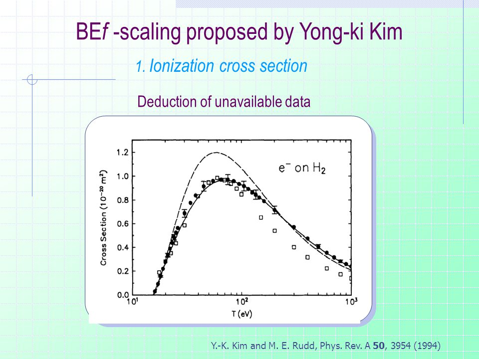Y.-K. Kim and M. E. Rudd, Phys. Rev. A 50, 3954 (1994) BE f -scaling proposed by Yong-ki Kim Deduction of unavailable data 1. Ionization cross section