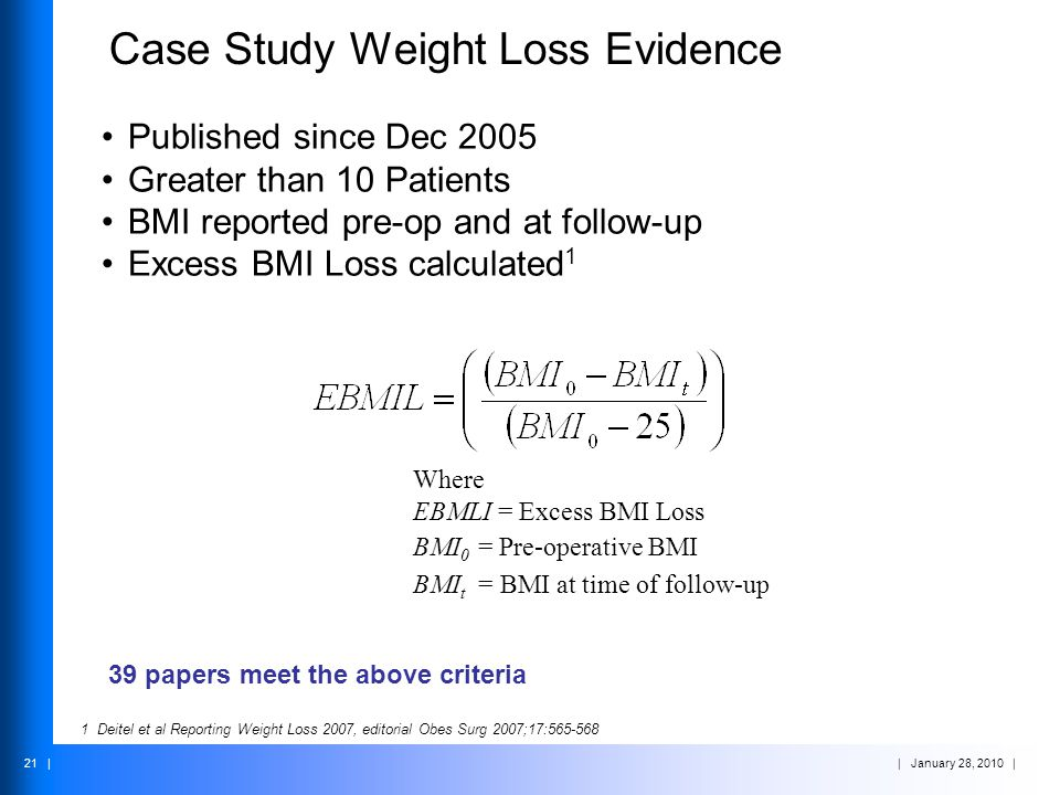 | January 28, 2010 | 21 | Case Study Weight Loss Evidence Published since Dec 2005 Greater than 10 Patients BMI reported pre-op and at follow-up Exces