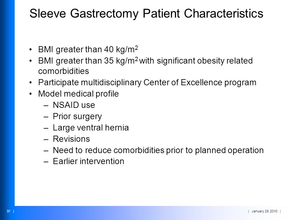 | January 28, 2010 | 37 | Sleeve Gastrectomy Patient Characteristics BMI greater than 40 kg/m 2 BMI greater than 35 kg/m 2 with significant obesity re