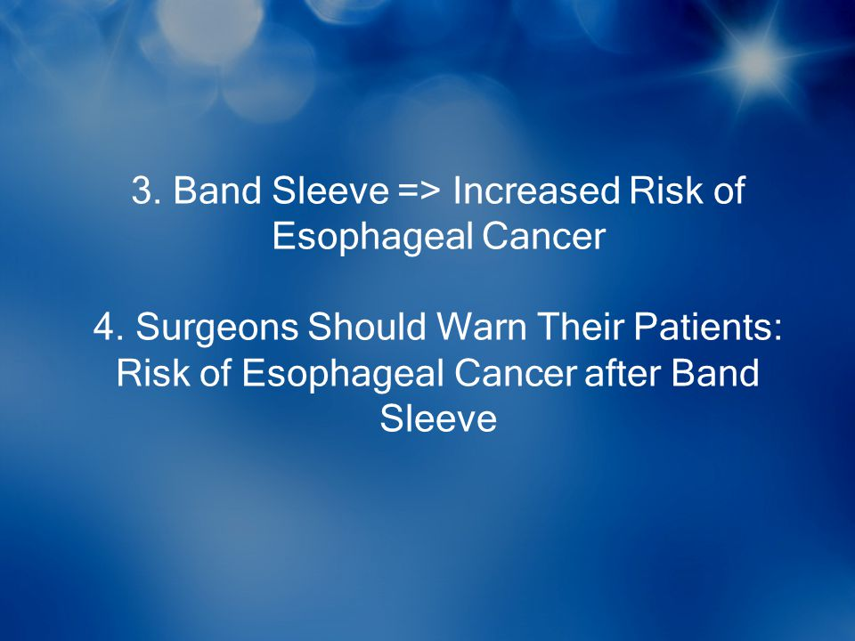 3. Band Sleeve => Increased Risk of Esophageal Cancer 4. Surgeons Should Warn Their Patients: Risk of Esophageal Cancer after Band Sleeve