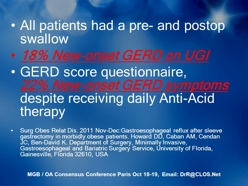 MGB / OA Consensus Conference Paris Oct 18-19, Email: DrR@CLOS.Net All patients had a pre- and postop swallow 18% New-onset GERD on UGI GERD score que