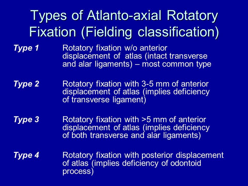Types of Atlanto-axial Rotatory Fixation (Fielding classification) Type 1Rotatory fixation w/o anterior displacement of atlas (intact transverse and a
