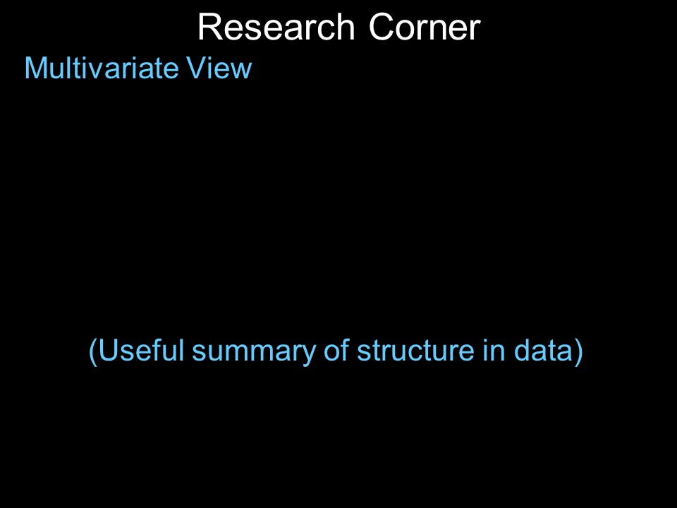 Research Corner Multivariate View (Useful summary of structure in data)