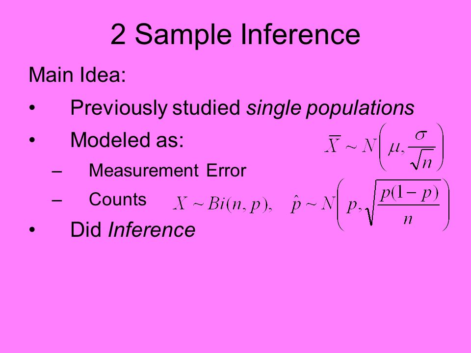 2 Sample Inference Main Idea: Previously studied single populations Modeled as: –Measurement Error –Counts Did Inference