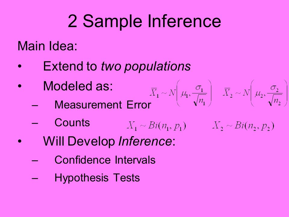 2 Sample Inference Main Idea: Extend to two populations Modeled as: –Measurement Error –Counts Will Develop Inference: –Confidence Intervals –Hypothesis Tests