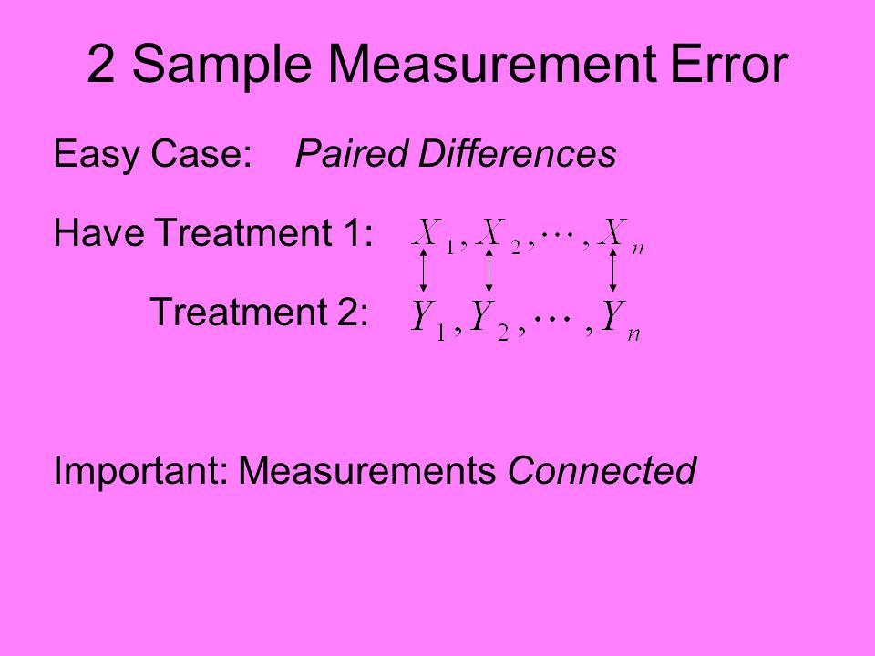 2 Sample Measurement Error Easy Case: Paired Differences Have Treatment 1: Treatment 2: Important: Measurements Connected, e.g.