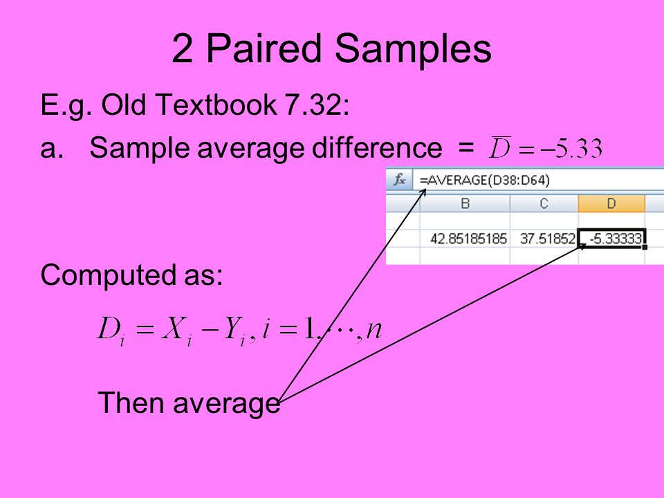 2 Paired Samples E.g. Old Textbook 7.32: a. Sample average difference = Computed as: Then average